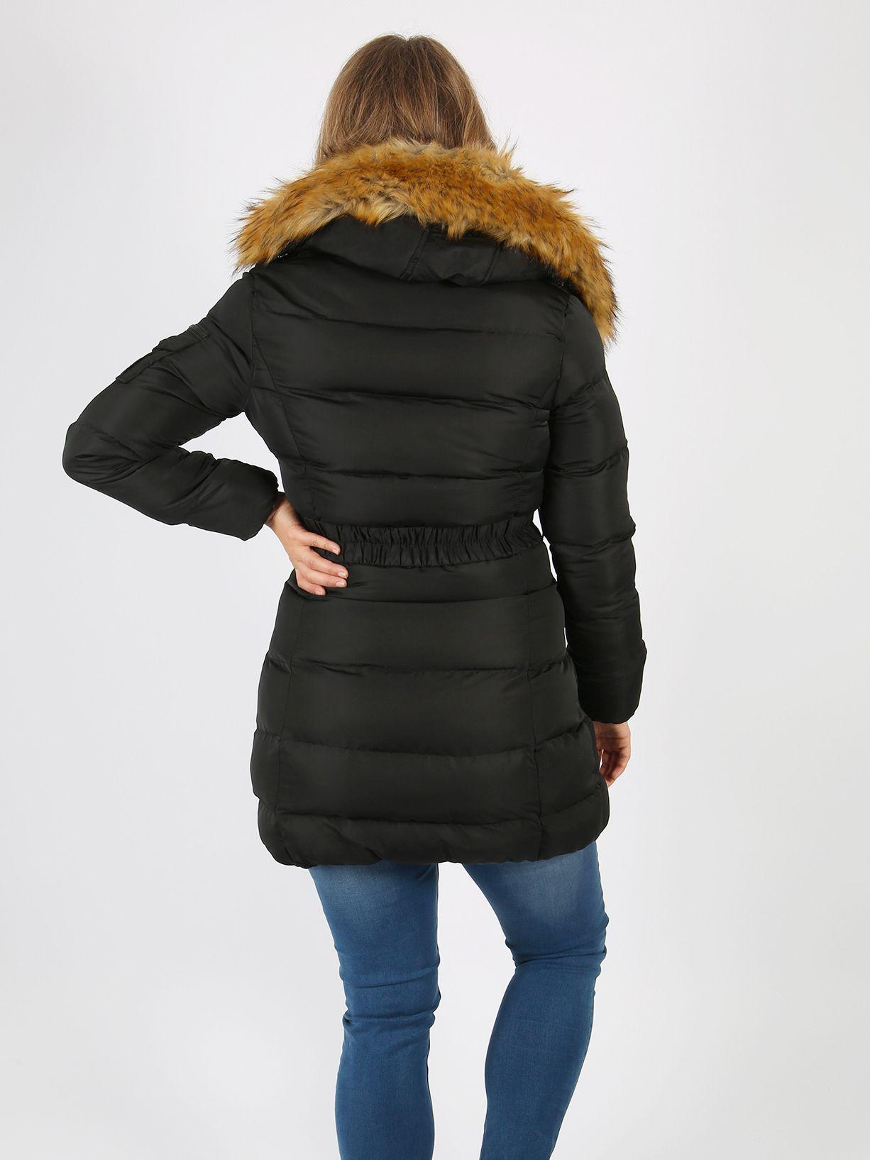 Lovedrobe Black Long Belted Puffer Jacket